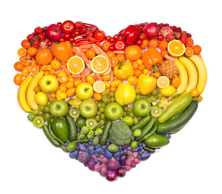 exotic: Rainbow heart of fruits and vegetables