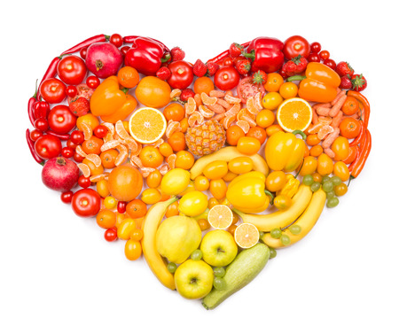 Rainbow heart of fruits and vegetables 免版税图像 - 34244127
