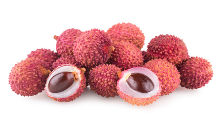 lechee: ripe lychee isolated on white background