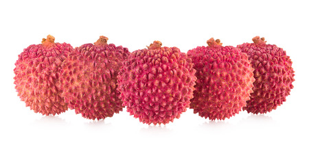 litschi: ripe lychee isolated on white background