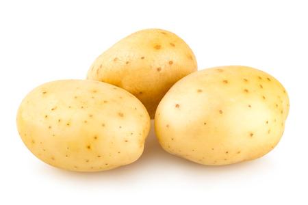 fresh potatoes isolated on white background