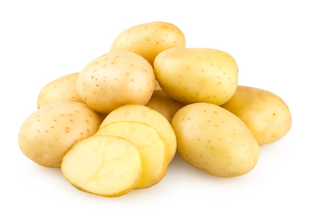 sliced: fresh potatoes isolated on white background