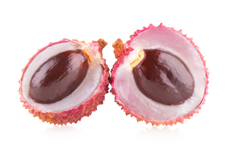 litschi: ripe lychee isolated on white background