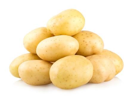 isolated on yellow: fresh potatoes isolated on white background