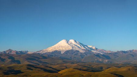 europe eastern: Elbrus; caucasus; mount; mountains; nothern; russia; europe; eastern; high; highest; morning; day; light; nature; landscape; snow; summer,panorama
