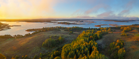 braslav: Foggy morning in Braslau lakes national park, Belarus Stock Photo