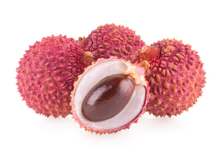 leechee: ripe lychee isolated on white background
