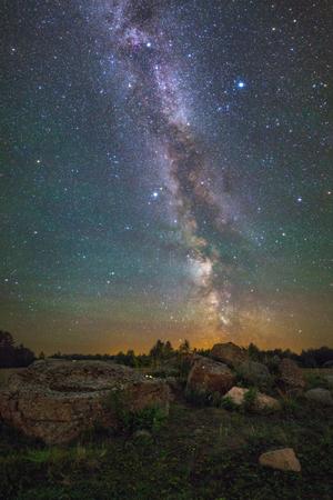 dark skies: Bright Milky Way over the rocks