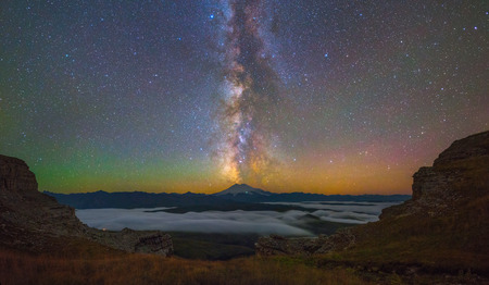 Milky Way over Mount Elbrus
