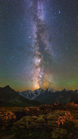 way: Milky Way and stars over mountains