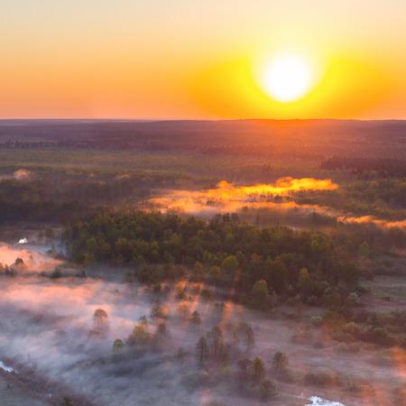 belarus: Foggy sunrise over river Biarezina, Belarus