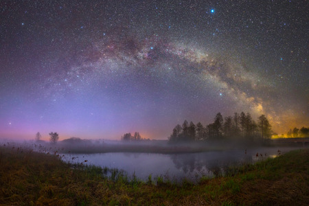 River Biarezina (Belarus) under stars