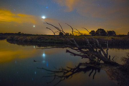 sky night: Conjunction of Jupiter and Venus over the river