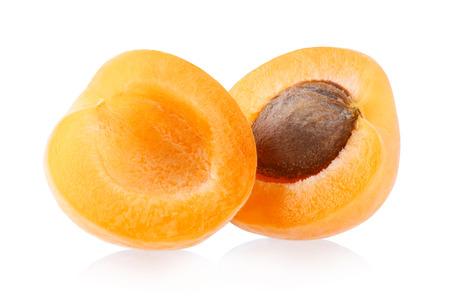 white isolated: Ripe apricots isolated on white background Stock Photo