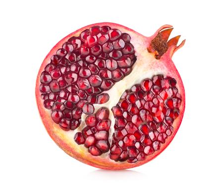 Ripe pomegranate isolated on white background