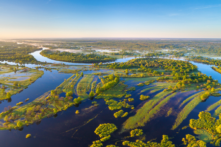 River Prypiac (Belarus) in the spring Stockfoto