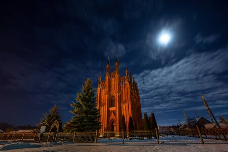 Old church in Sarja (Belarus) in moonlight