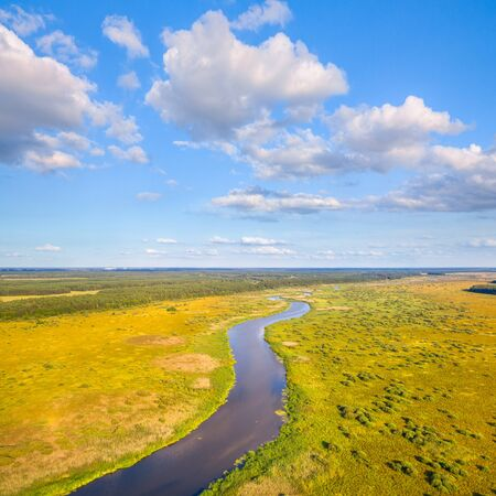 River Yaselda and rare type of marshes - fen (wet meadow) in natural reserve Sporauski, Belarus Stock Photo