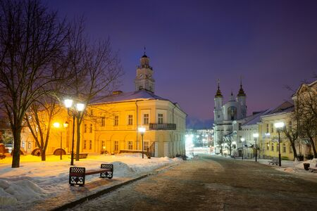 Old center of Viciebsk (Belarus) at night