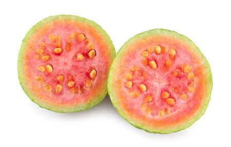Guava slices isolated on white background