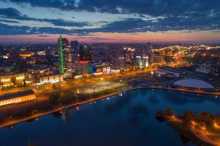 Aerial photo of Minsk (Belarus) at the night Archivio Fotografico