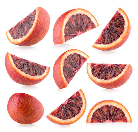 Collection of 9 slices of blood orange (red orange) with light shadows