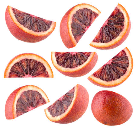 Collection of 9 slices of blood orange (red orange) without shadows