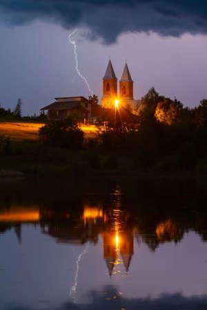 Lightning strike during a thunderstorm in Belarus