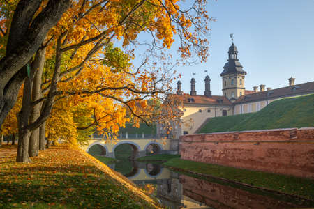 Ancient palace in Niasvizh (Belarus) in autumn Editorial