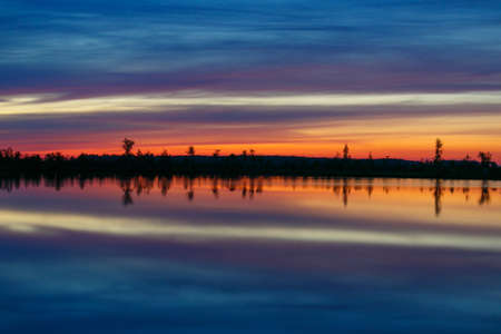 One of the lakes of the uniquie Yelnya bog at sunrise