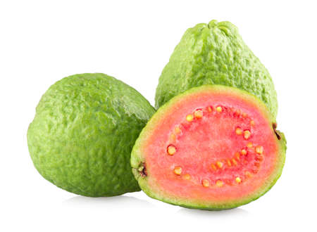 Guava fruits isolated on white background with clipping path