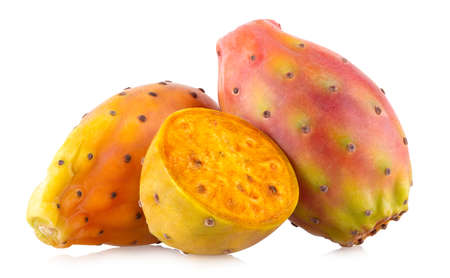 Fresh cactus fruit (prickly pear, opuntia) isolated on white background with clipping path Standard-Bild