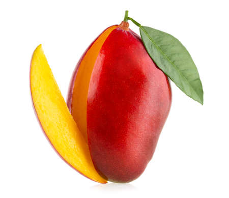 Ripe mango with slice isolated on white background with clipping path