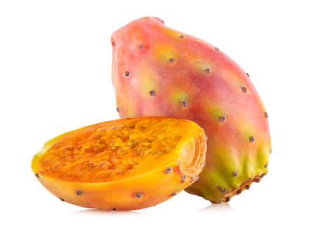 Fresh cactus fruit (prickly pear, opuntia) isolated on white background with clipping path