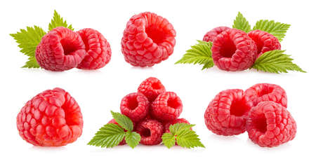 Set of 6 images of ripe raspberries isolated on white background Standard-Bild