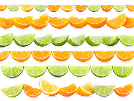 Set of 6 lines with citrus slices isolated on white background