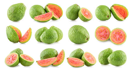 Set of 12 guava fruit photos isolated on white background