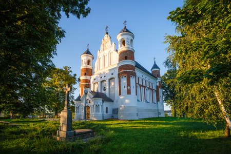 Ancient fortress church in Muravanka (Belarus) Standard-Bild