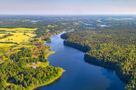 Lake Douzha (Belarus) from the bird's eye view Standard-Bild