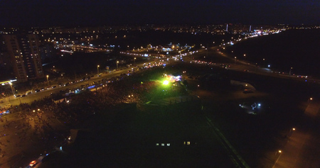 View from the drone of a crowd of people at the concert