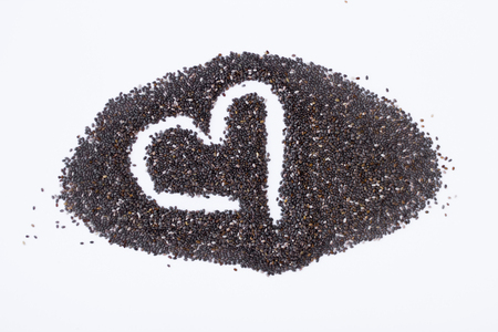 Chia seeds with copy space. Top view or flat. The concept of healthy food and diet. Stock Photo
