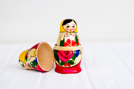 Russian national nesting dolls on a white background Stockfoto