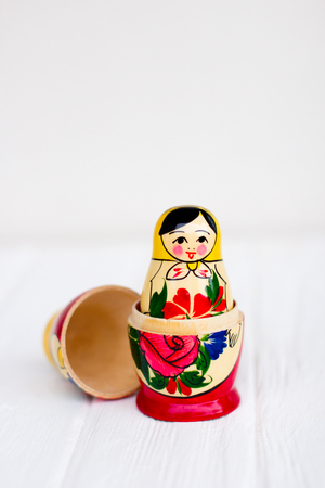 Russian national nesting dolls on a white background 스톡 콘텐츠