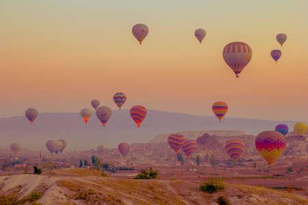 Cappadocia Turkey. October 30. 2019. - Panorama of the runway in Cappadocia at sunrise