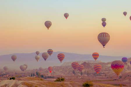 Cappadocia Turkey. October 30. 2019. - Panorama of the runway in Cappadocia at sunrise Stock fotó