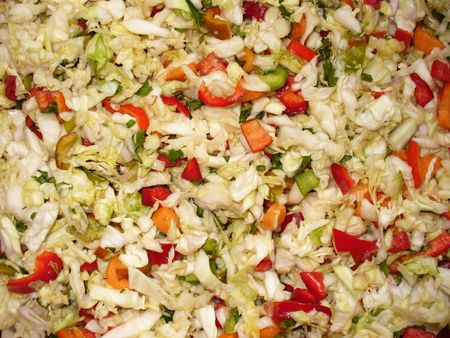 fresh cabbage salad with red peppers photo