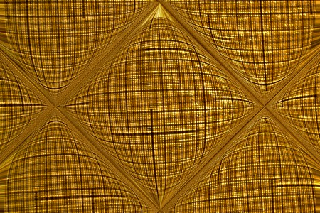 glows: The thinned interlaced marsh fabric is reflected and bent in a transparent glass tile