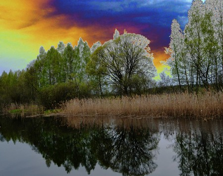 gloom: Dark blue clouds and young trees with reeds are reflected in the water of a calm river Stock Photo