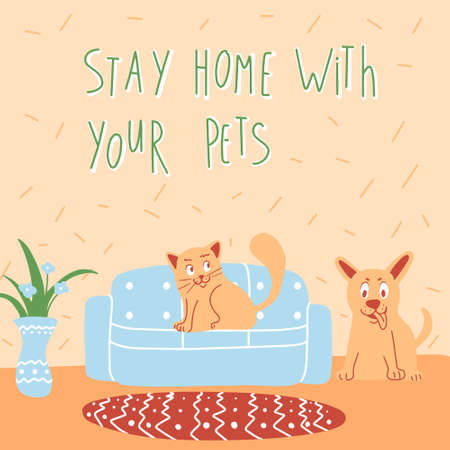 Vector image of health concept against corona virus where your pets cat and dog ask you to stay at cozy home with blue sofa and vase Ilustrace