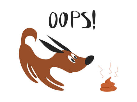 Cute cartoon sign or table, banner colorful vector illustration. Clean up poop after your dog. Illustration